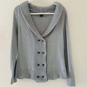 Banana Republic grey wool double breasted cardigan